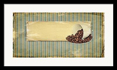 Coffee Drinking Mixed Media Framed Prints