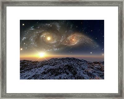 Colliding Galaxies Framed Print