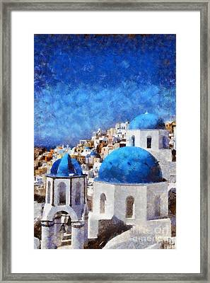 Colorful Oia In Santorini Island Framed Print by George Atsametakis