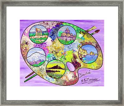 Sicily On A Palette Framed Print by Loredana Messina