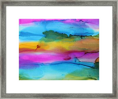 3 Colors Horizontal Abstract Framed Print by Kim Thompson