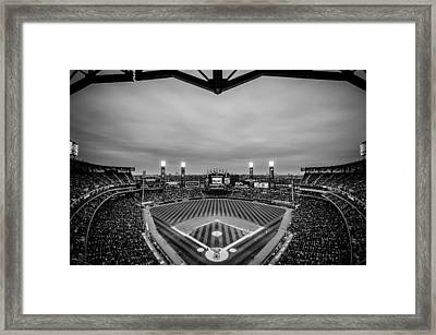 Comiskey Park Night Game - Black And White Framed Print