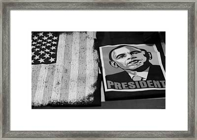 Commercialization Of The President Of The United States Of America In Black And White Framed Print