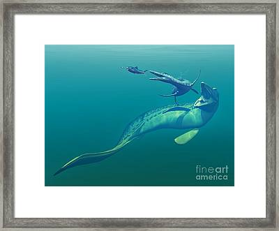 Cretaceous Marine Predators, Artwork Framed Print by Walter Myers