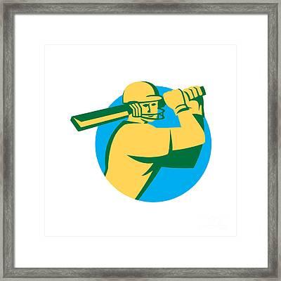 Cricket Player Batsman Batting Circle Retro Framed Print