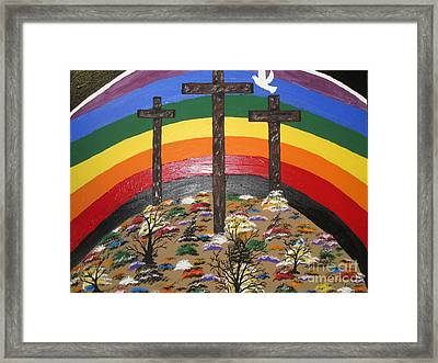 3 Crosses And A Rainbow Framed Print