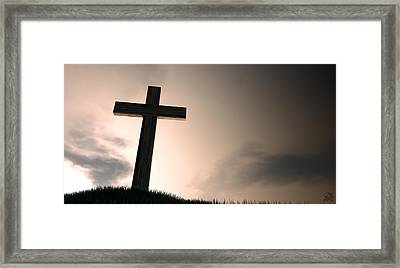 Crucifix On A Hill At Dawn Framed Print