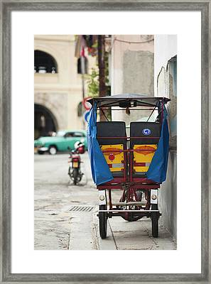 Cuba, Havana, Havana Vieja, Pedal Taxi Framed Print