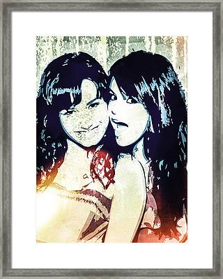 Demi Lovato And Selena Gomez Framed Print