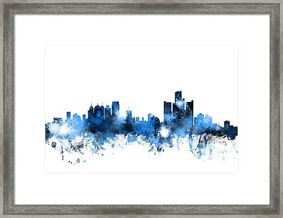 Detroit Michigan Skyline Framed Print by Michael Tompsett