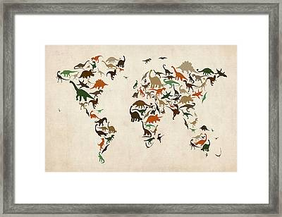 Dinosaur Map Of The World Map Framed Print by Michael Tompsett
