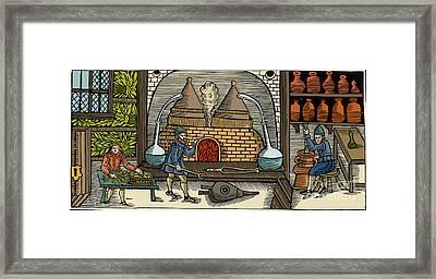 Distillation, Middle Ages Framed Print