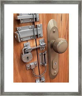 Door With Various Locks Framed Print