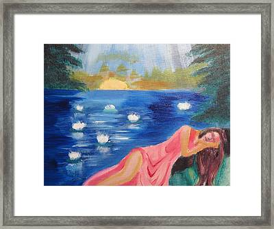 Framed Print featuring the painting Dreaming At Lotus Lake by Diana Riukas