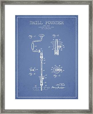 Drill Pounder Patent Drawing From 1922 Framed Print by Aged Pixel