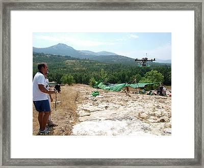 Drone Survey Of Neanderthal Fossil Site Framed Print by Javier Trueba/msf