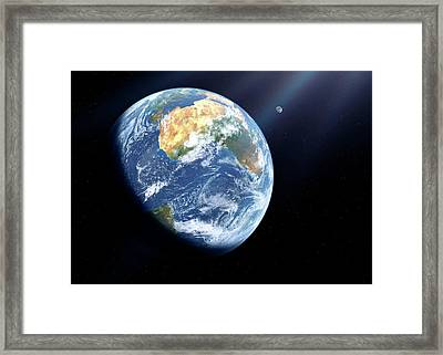 Earth And Moon From Space Framed Print by Detlev Van Ravenswaay