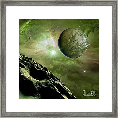 Earthlike Planet In Orion Nebula Framed Print