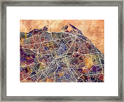 Edinburgh Street Map Framed Print by Michael Tompsett
