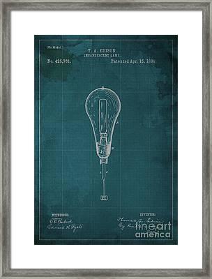 Edison Incandescent Lamp Patent Blueprint Framed Print