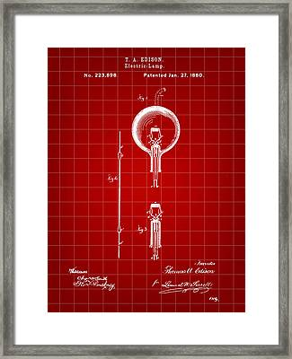 Edison Light Bulb Patent 1880 - Red Framed Print by Stephen Younts