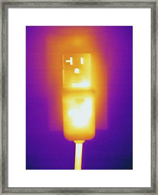 Electrical Outlet, Thermogram Framed Print by Science Stock Photography