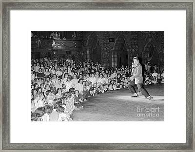 Elvis Presley In Concert At The Fox Theater Detroit 1956 Framed Print by The Harrington Collection