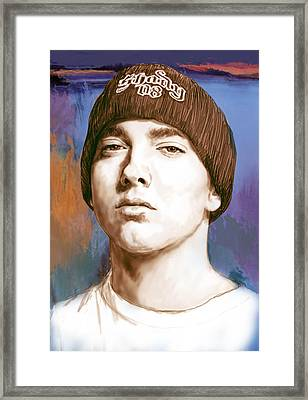 Eminem - Stylised Drawing Art Poster Framed Print by Kim Wang