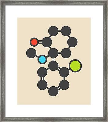 Esketamine Drug Molecule Framed Print by Molekuul