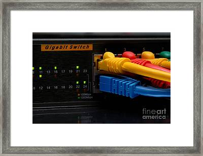 Ethernet Cables Plugged Into Router Framed Print by Amy Cicconi