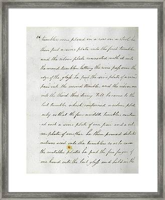 Faraday's Notes On Tatum's Lectures Framed Print by Royal Institution Of Great Britain