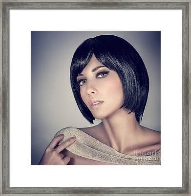 Fashion Model Portrait Framed Print by Anna Om