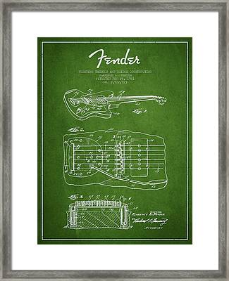 Fender Floating Tremolo Patent Drawing From 1961 - Green Framed Print