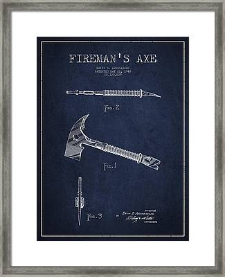 Fireman Axe Patent Drawing From 1940 Framed Print