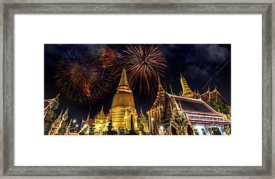 Firework On Wat Phra Kaeo  Framed Print