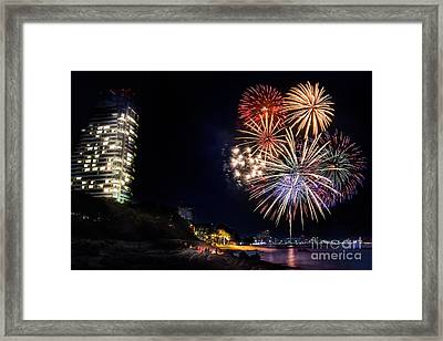 Fireworks At Pattaya Beach Framed Print
