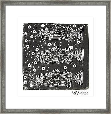 3 Fish Framed Print by Monica Warhol