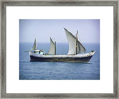 Fishing Vessel In The Arabian Sea Framed Print