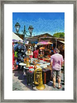 Flea Market In Athens Framed Print by George Atsametakis