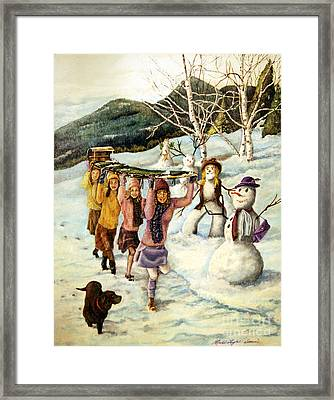 Frosty Frolic Framed Print by Linda Simon