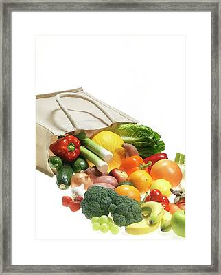 Fruit And Vegetables Framed Print by Tek Image/science Photo Library