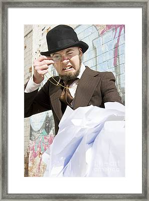 Frustrated Businessman Framed Print by Jorgo Photography - Wall Art Gallery