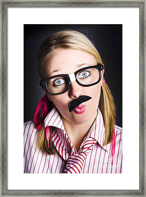 Funny Business Nerd With Innovative Breakthrough Framed Print