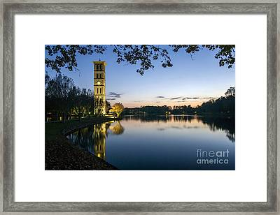 Furman University Bell Tower At Sunset  Greenville Sc Framed Print