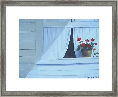 Geraniums On Windowsill Framed Print by Glenda Barrett