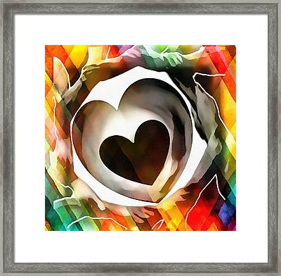 Framed Print featuring the digital art Get Connected At Heart by Catherine Lott