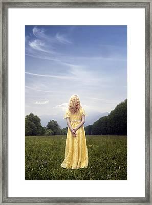 Girl On Meadow Framed Print
