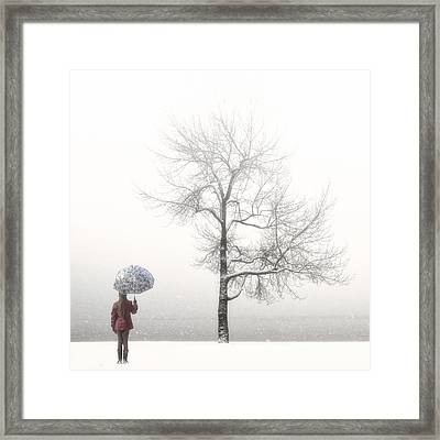 Girl With Umbrella Framed Print