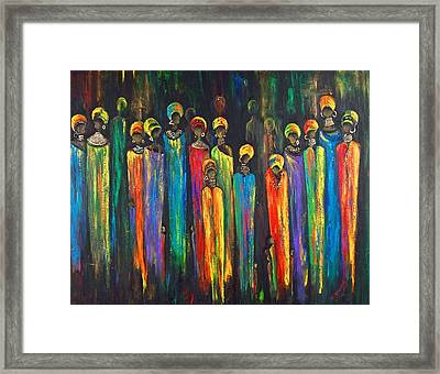 Gogo And The Ancestors Framed Print by Marietjie Henning
