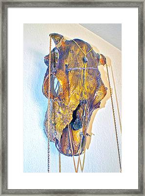 Gold And Black Illuminating Steer Skull Framed Print